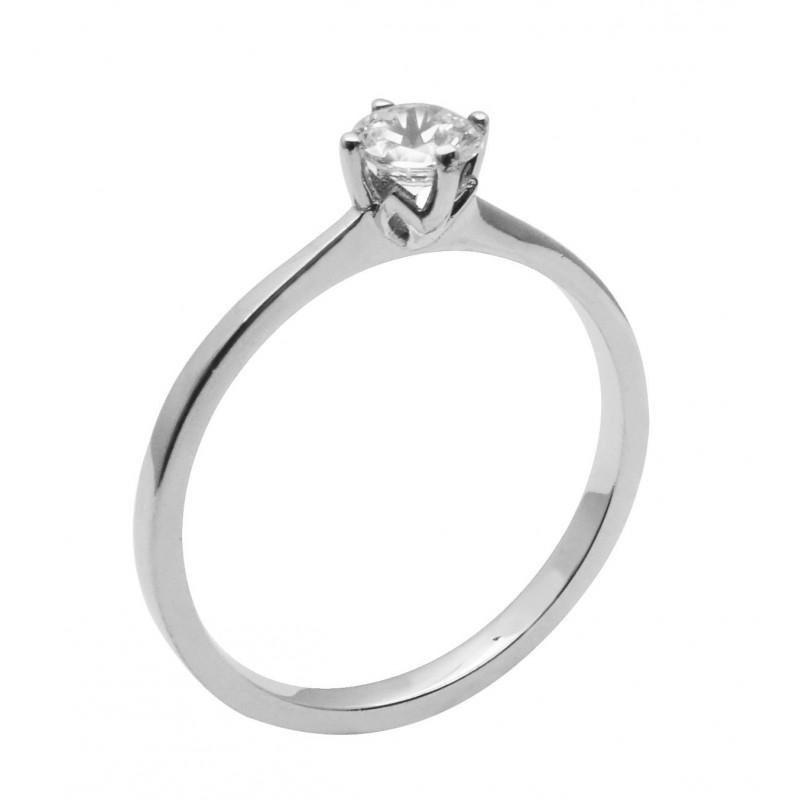 Λευκόχρυσο μονόπετρο δαχτυλίδι  R750