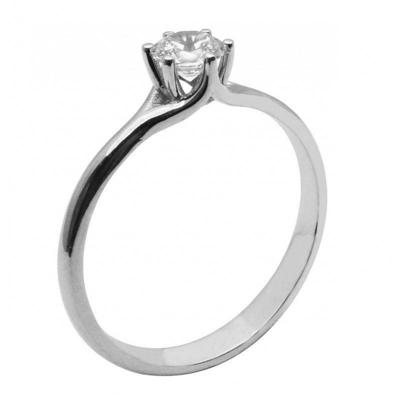 Λευκόχρυσο μονόπετρο δαχτυλίδι  9καρατίων R751