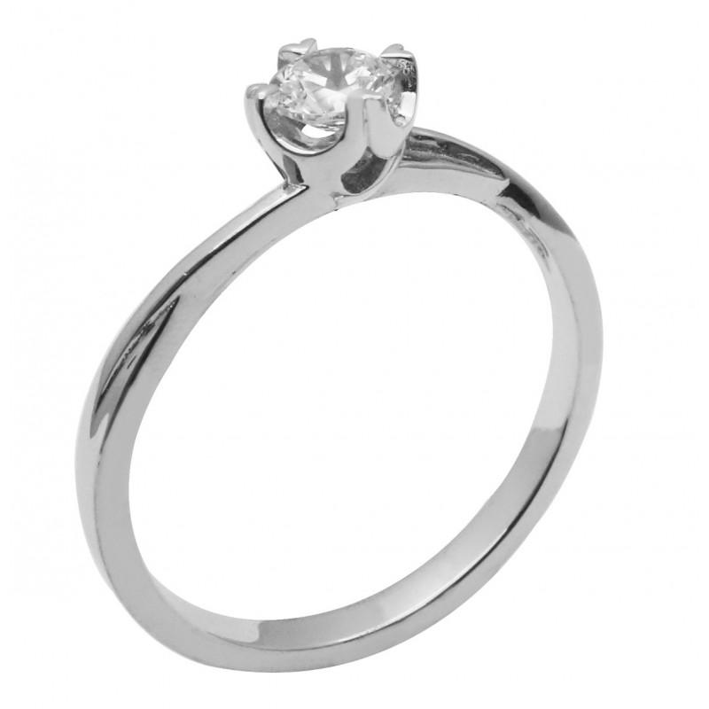 Λευκόχρυσο μονόπετρο δαχτυλίδι  14καρατίων R755