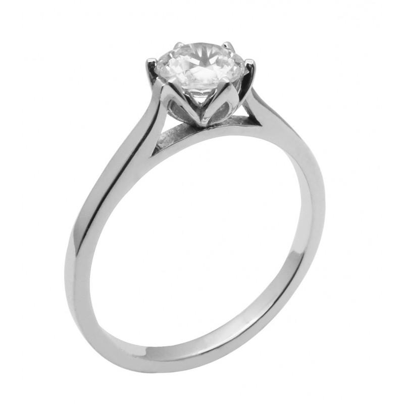 Λευκόχρυσο μονόπετρο δαχτυλίδι 14καρατίων R757