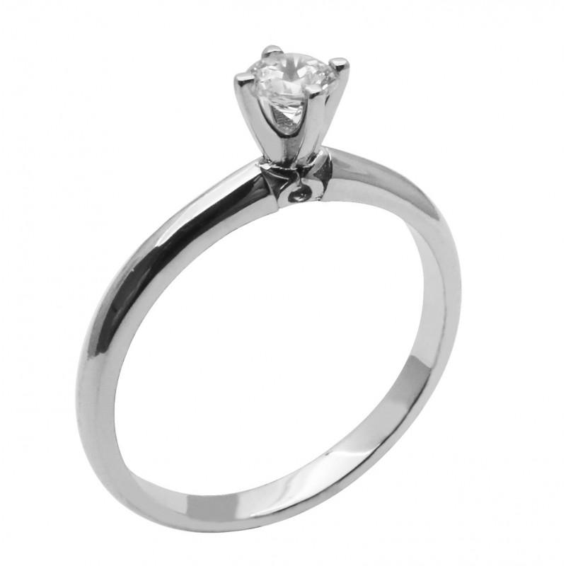 Λευκόχρυσο μονόπετρο δαχτυλίδι 14καρατίων R764