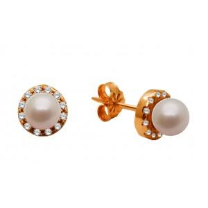 Ροζ χρυσά σκουλαρίκια με...
