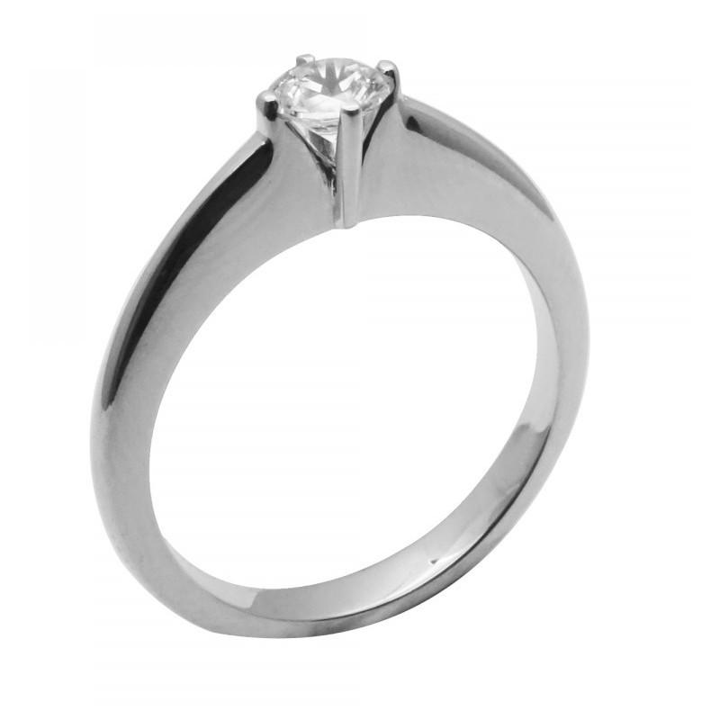 Λευκόχρυσο μονόπετρο γυναικείο δαχτυλίδι 14 καρατίων 565ROT