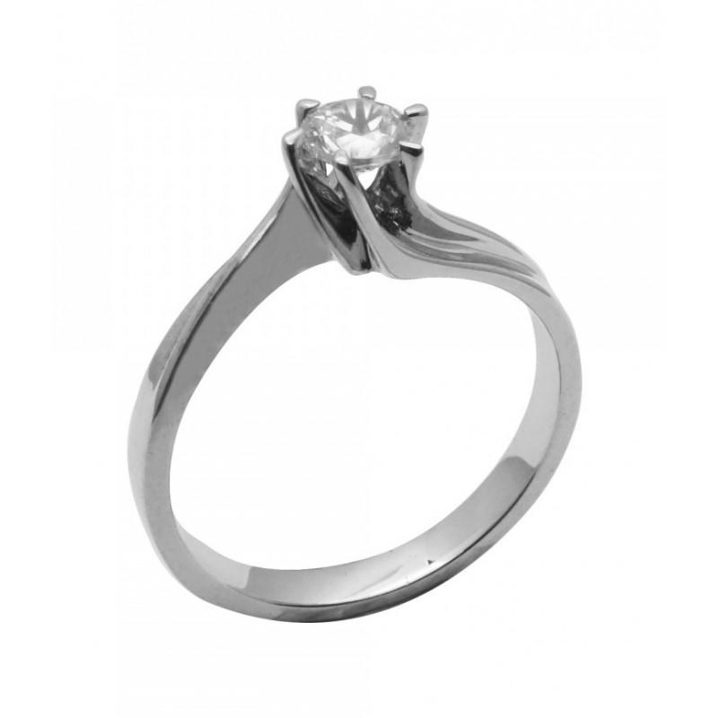 Λευκόχρυσο μονόπετρο γυναικείο δαχτυλίδι 652ROT