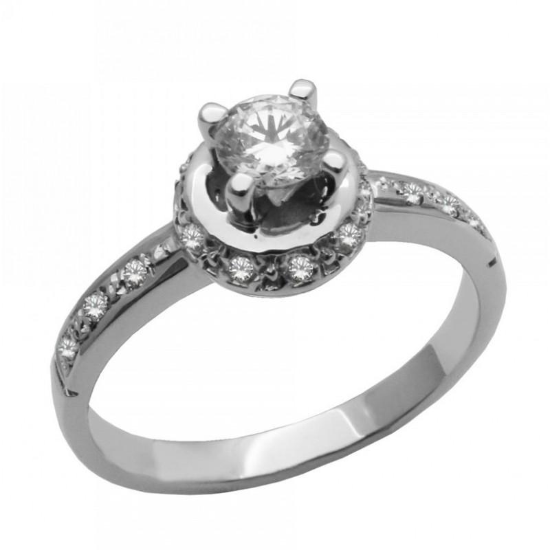 Λευκόχρυσο μονόπετρο γυναικείο δαχτυλίδι 14 καρατίων 520ROT