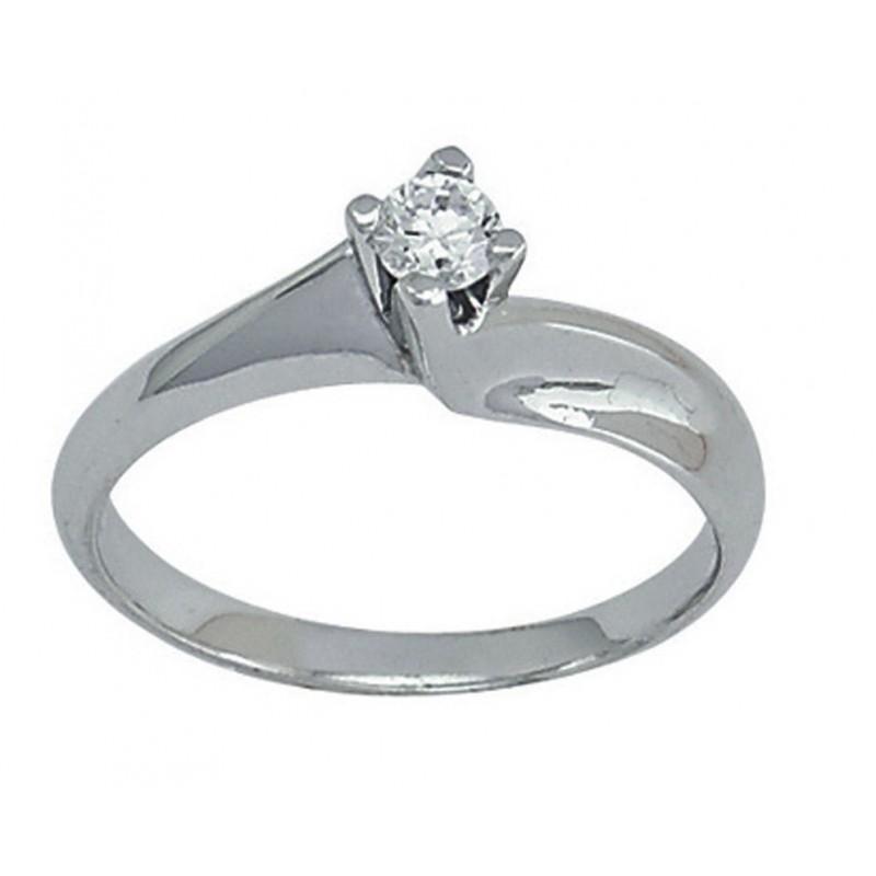 Λευκόχρυσο δαχτυλίδι μονόπετρο 14καρατίων 554ROT