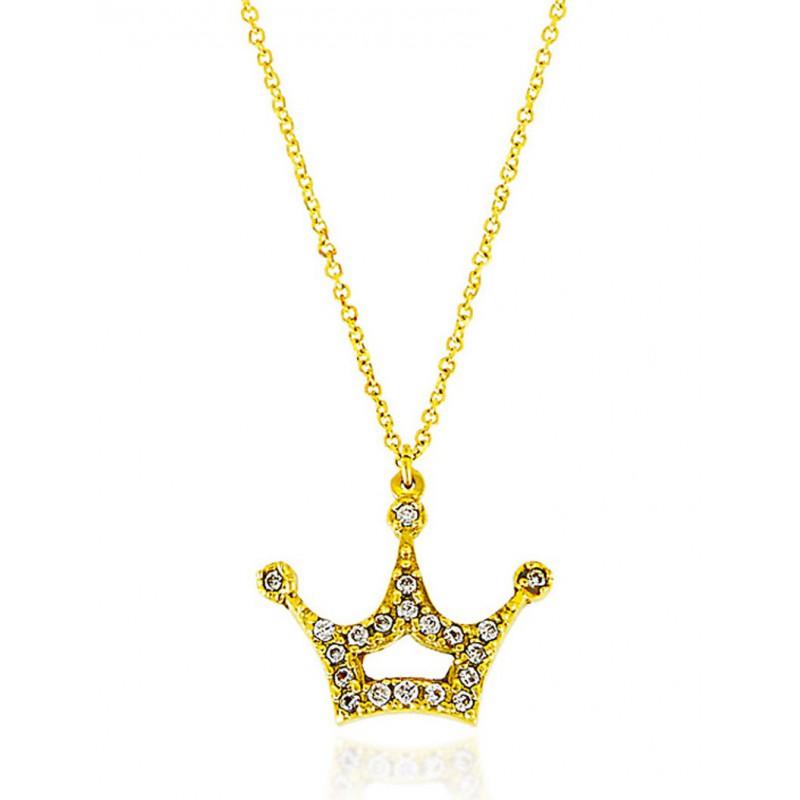 Γυναικείο χρυσό κολιέ με ζιργκόν σε σχήμα κορώνας 11149LAV12