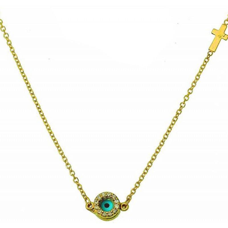 Χρυσό γυναικείο ματάκι κολίε  NLT11263