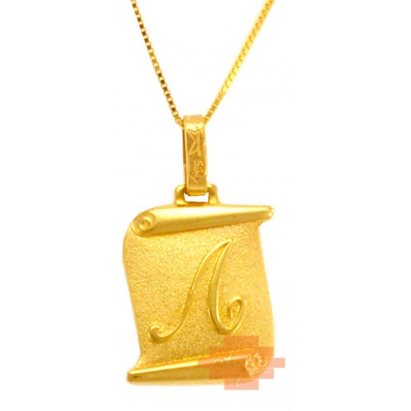 Χρυσό μεταγιόν μονόγραμμά ''Λ'' 14καρατίων MN25