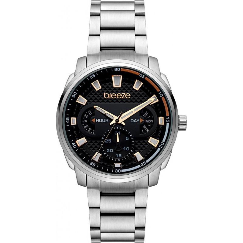 Ρολόι BREEZE 612102.2 CitySpicer από ανοξείδωτο ατσάλι με μαύρο καντράν και μπρασελέ.