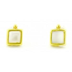 Χρυσά σκουλαρίκια με λευκό...