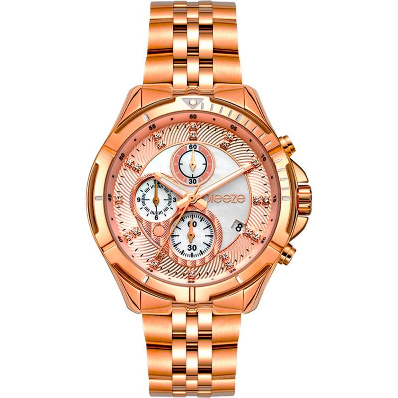 Ρολόι BREEZE 212191.4 Empressa από ανοξείδωτο ατσάλι με ροζ-λευκό καντράν, πέτρες ζιργκόν και μπρασελέ.