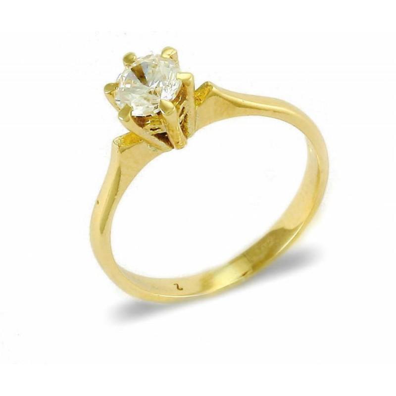 Χρυσό μονόπετρο δαχτυλίδι γυναικείο RN11067