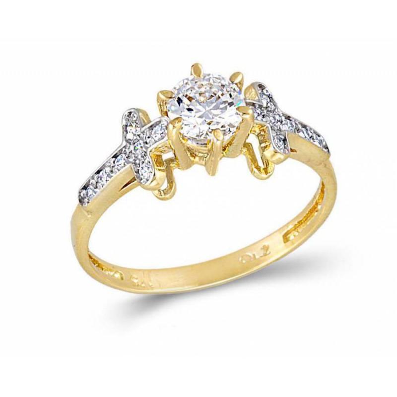 Χρυσό μονόπετρο δαχτυλίδι 9καρατίων RN11046