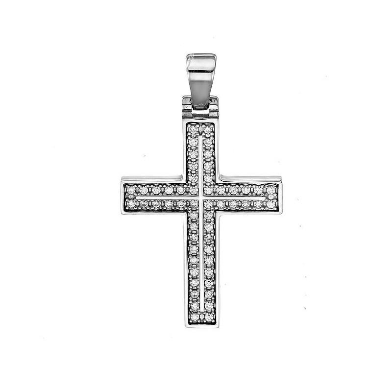 Λευκόχρυσος  σταυρός 14καρατίων ST290BAR9