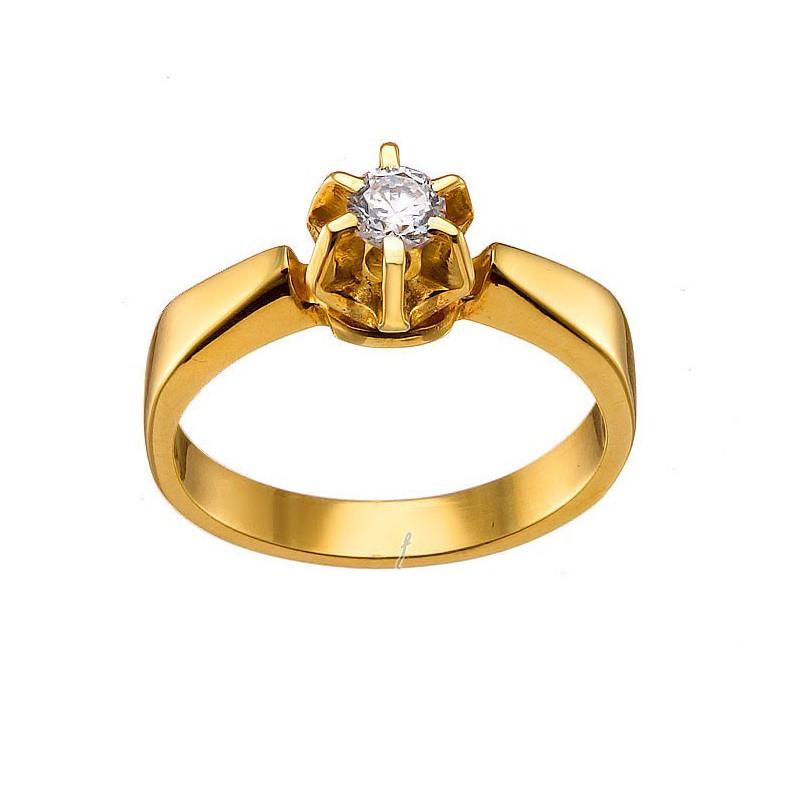 Μονόπετρο χρυσό δαχτυλίδι 14 καρατίων D145BB5