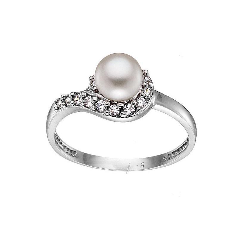 Λευκόχρυσο γυναικείο δαχτυλίδι 14καράτια D440BAR9