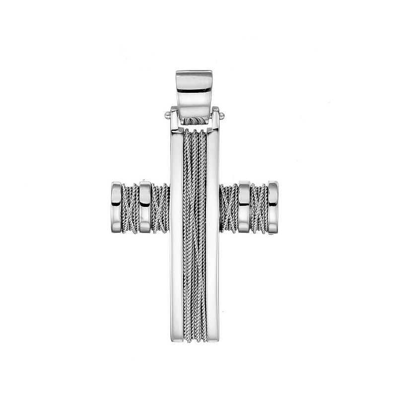 Λευκόχρυσος σταυρός 14 καρατίων ST141BAR9