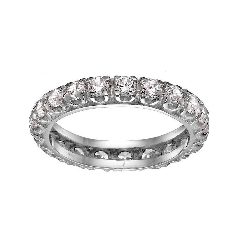 Ολόβερο λευκόχρυσο δαχτυλίδι 14 καρατίων DX138SOK