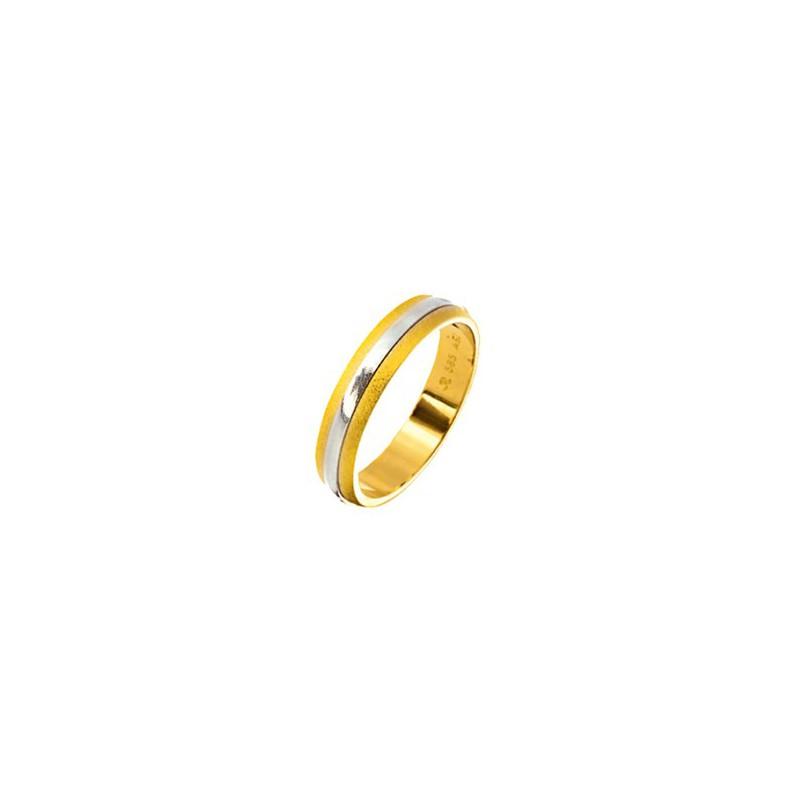 Χρυσή Λευκόχρυση βέρα 81DIXSX Ανδρική/ Γυναικεία για Γάμο/ Αρραβώνα 9 καρατίων