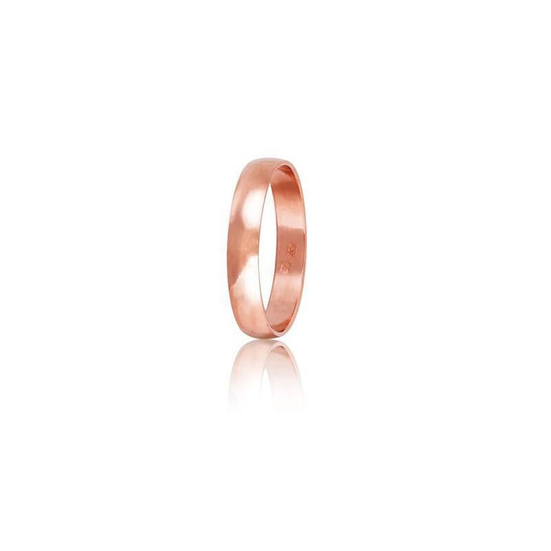Ρόζ χρυσή βέρα HR2A Γυναικεία/Ανδρική για Γάμο/Αρραβώνα 9 καρατίων