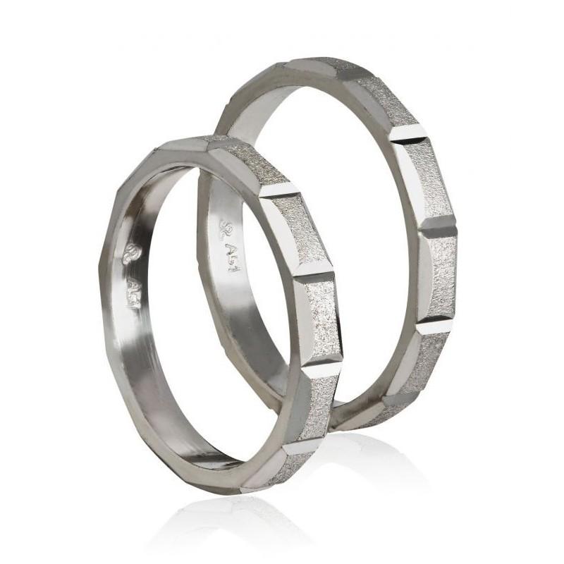 Λευκόχρυση βέρα 406C Ανδρική/Γυναικεία για Γάμο και Αρραβώνα 9 καρατίων