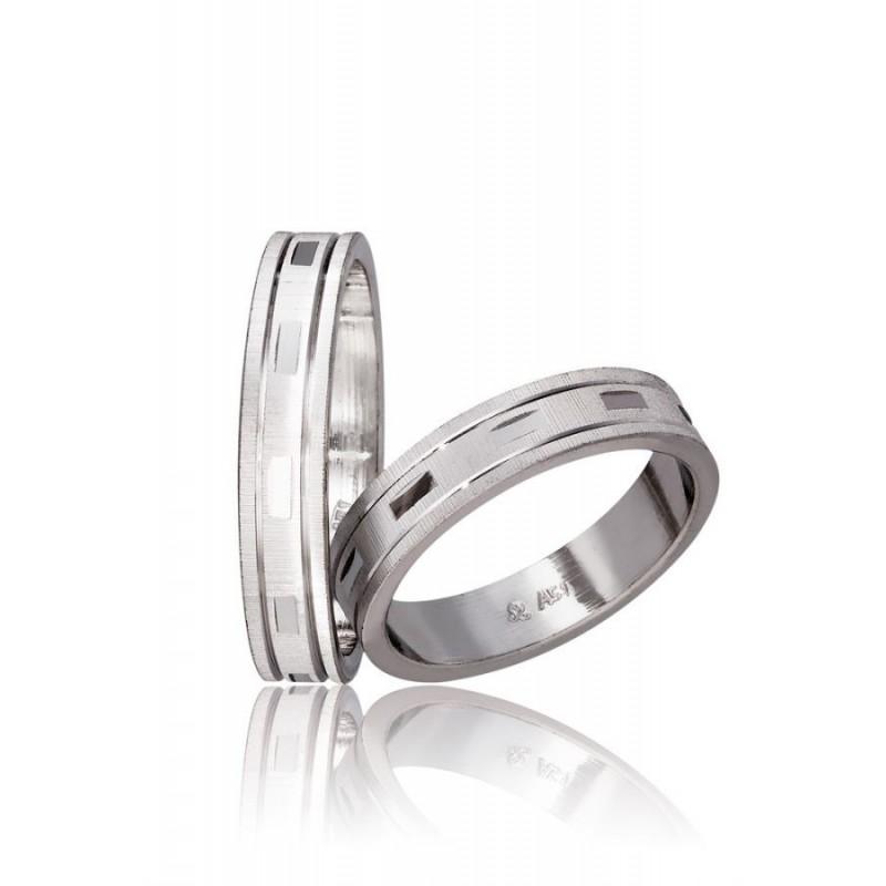 Λευκόχρυση βέρα SX760 Aντρική/Γυναικεία για Γάμο/Αρραβώνα 9 καρατίων