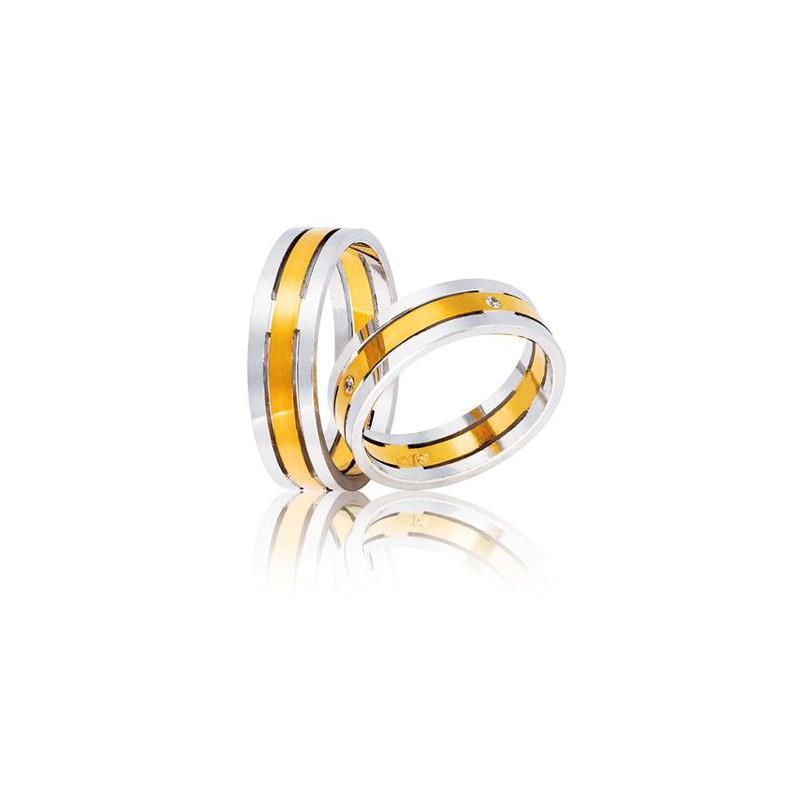 Χρυσή Λευκόχρυση βέρα TR5 Αντρική/Γυναικεία για Γάμο/Αρραβώνα 9 καρατίων.