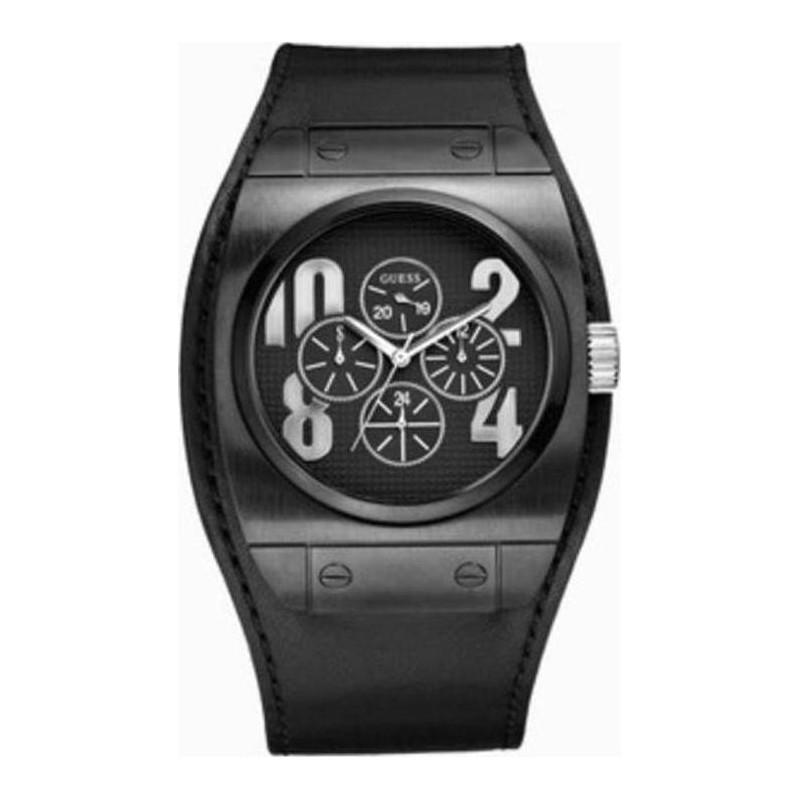 Guess Sport Calendar Black Leather Strap W15506G1