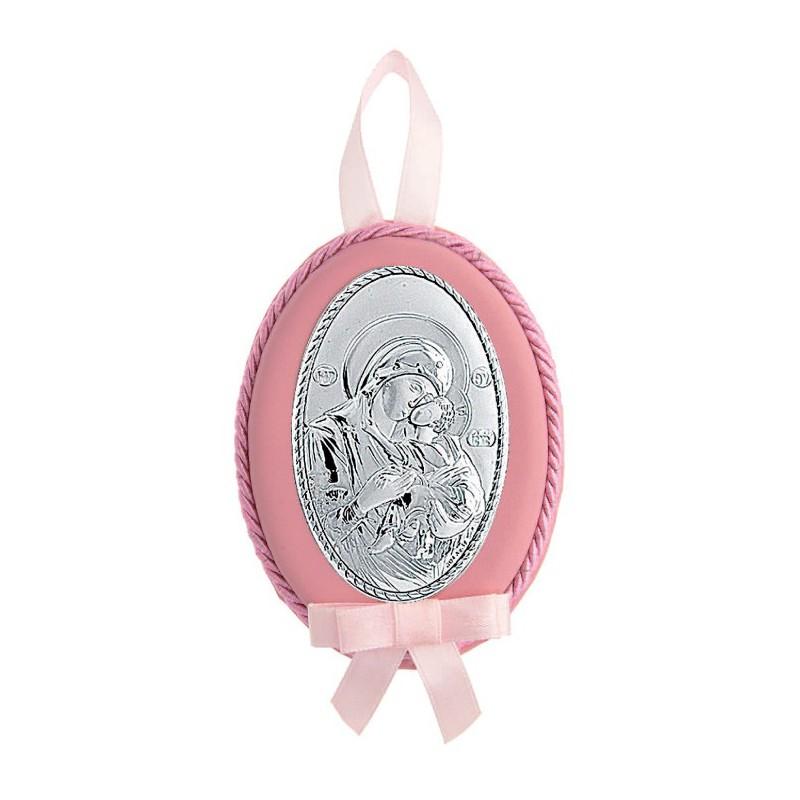 Ασημένια παιδικήMA/D515/R εικόνα κούνιας για κορίτσι σε ροζ χρώμα χρώμα MA/D515/R
