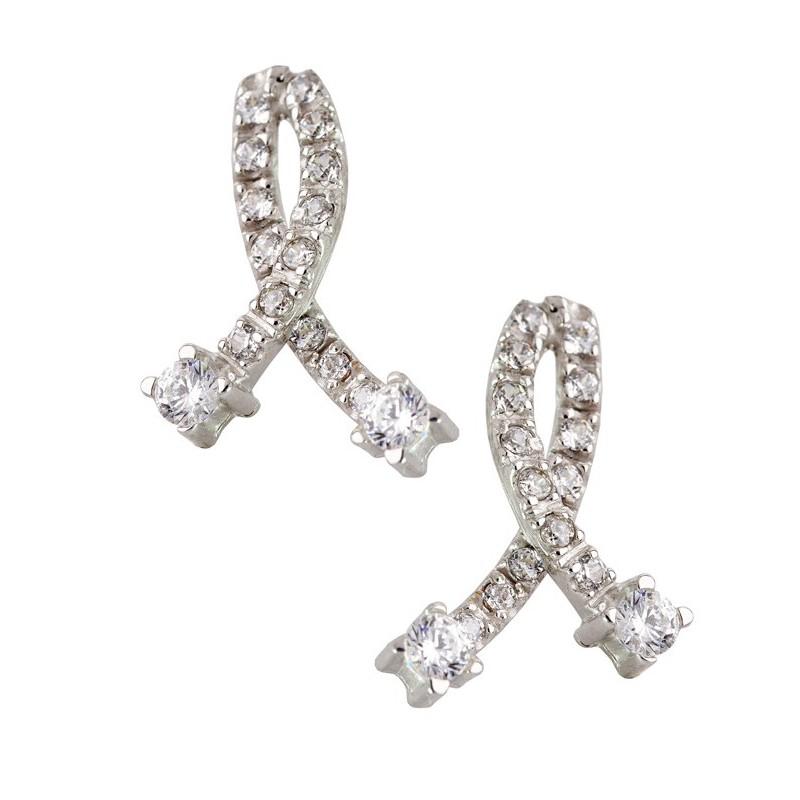 Λευκόχρυσα γυναικεία σκουλαρίκια 14καρατίων SK123BAR8