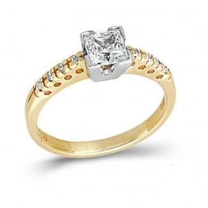 Δίχρωμο μονόπετρο δαχτυλίδι...