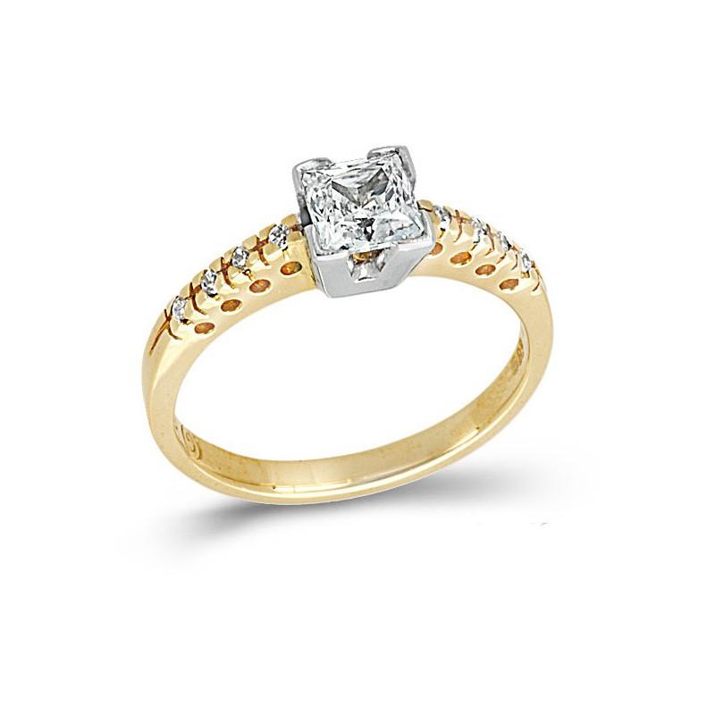 Δίχρωμο μονόπετρο δαχτυλίδι με ζιργκόν 14καρατίων 230KLAV36