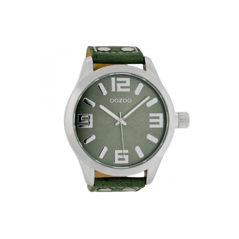 Ρολόι OOZOO C1011 Timepieces Xxl με Πράσινο Δερμάτινο Λουράκι