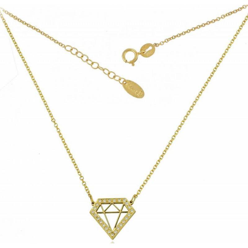 Xρυσό γυναικείο κολιέ με 'διαμάντι' σχέδιο NLT11248