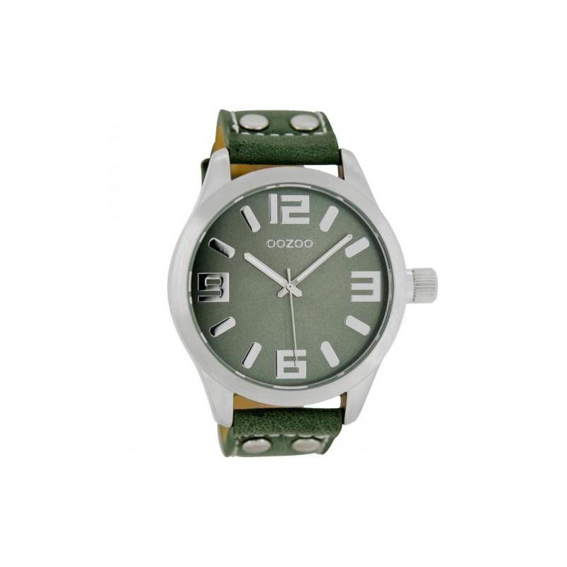 Ρολόι OOZOO C1061 Small Τimepieces με Πράσινο Δερμάτινο Λουράκι