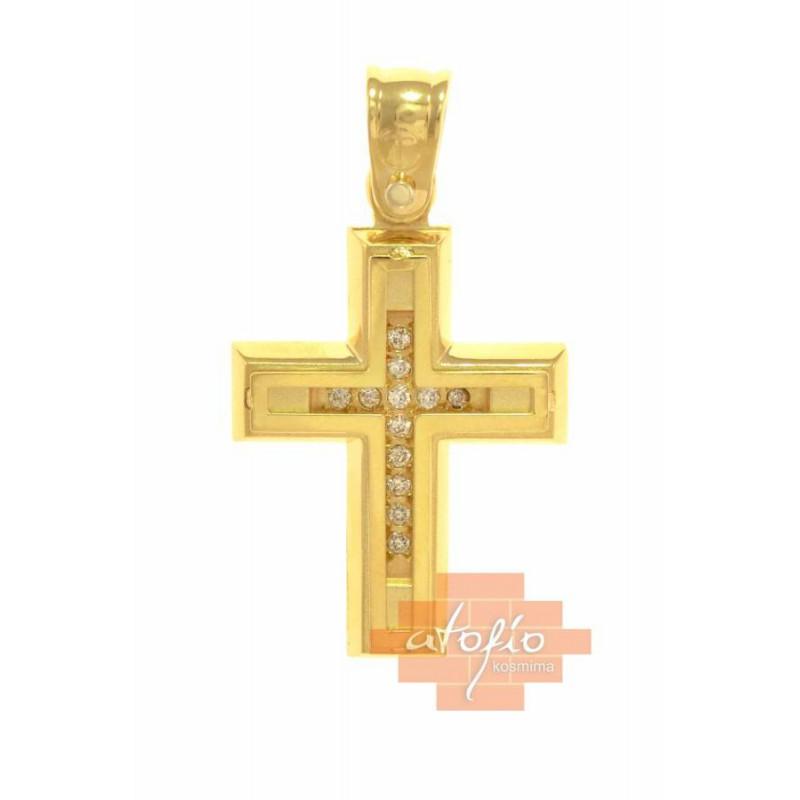 Χρυσός σταυρός 14 καρατιων ST206MOYX