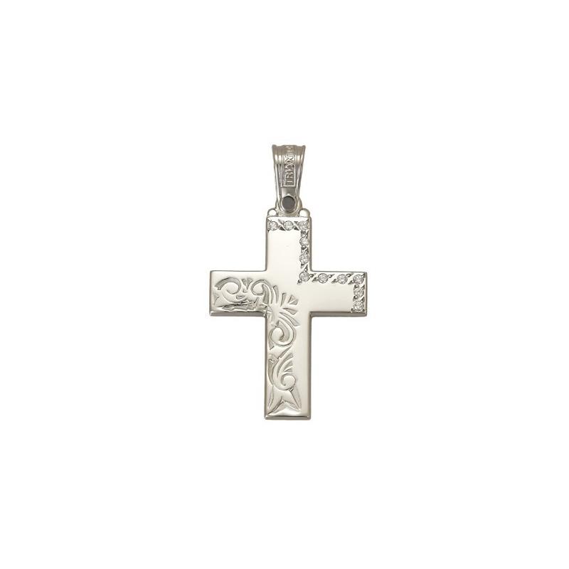 Λευκόχρυσος  σταυρός 14 καρατίων.ST267TR39 TRIANTOS