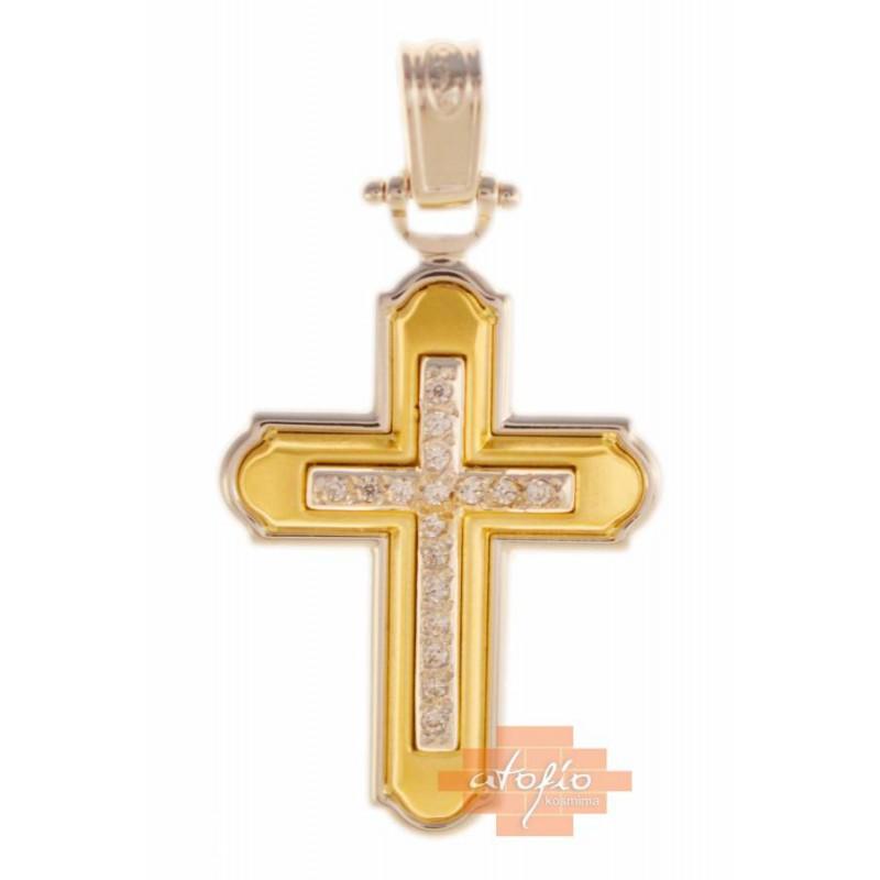 Χρυσός  σταυρός βάπτισης/αρραβώνα14 καρατίων ST223BB8 για κορίτσι