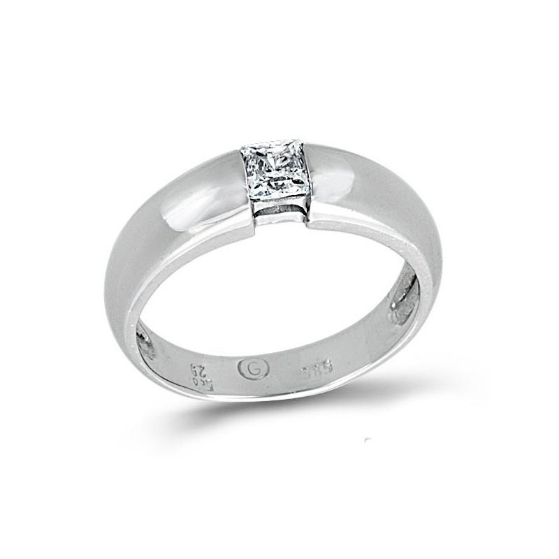 Λευκόχρυσο μονόπετρο δαχτυλίδι με ζιργκόν 14καρατίων 115LLAV24