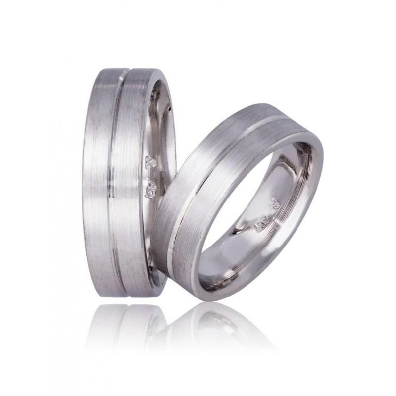 Λευκόχρυση βέρα SX738DX Αντρική/Γυναικεία για Γάμο/Αρραβώνα 9 καρατίων