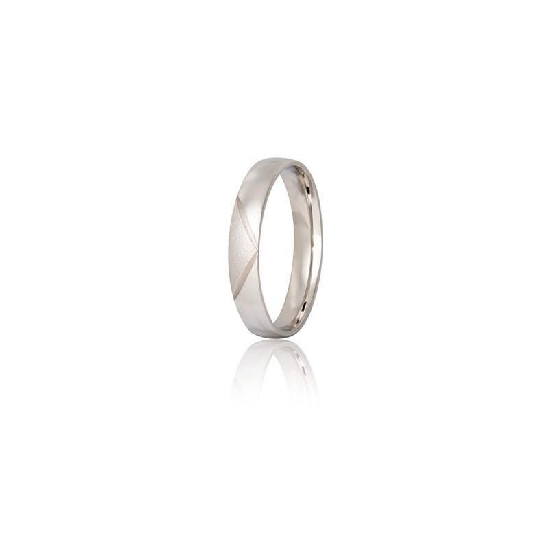 Λευκόχρυση βέρα S30DX Ανδρική/ Γυναικεία για Γάμο/ Αρραβώνα 9 καρατίων