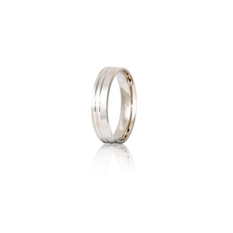 Λευκόχρυση βέρα S46DX Aντρική/Γυναικεία για Γάμο/Αρραβώνα 9 καρατίων
