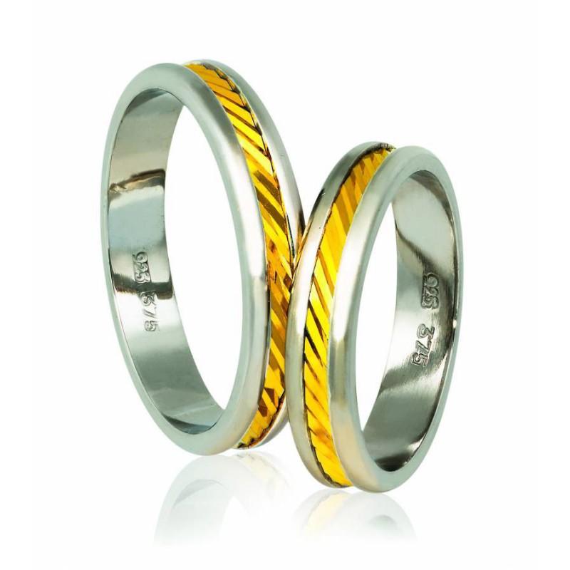 Χρυσή Ασημένια βέρα Silver-Gold A74PX Γυναικεία/Ανδρική για Γάμο/Αρραβώνα