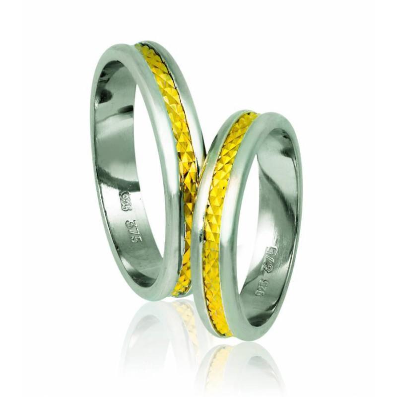 Χρυσή Ασημένια βέρα Silver-Gold A76PX Ανδρική/Γυναικεία για Γάμο/Αρραβώνα