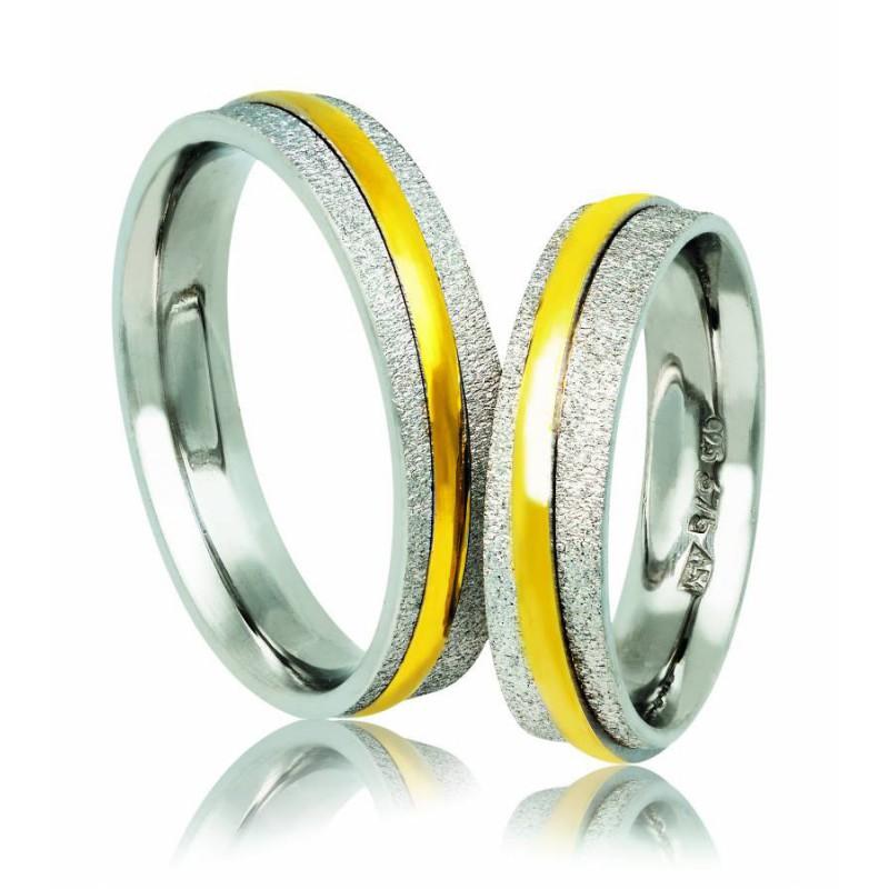 Χρυσή Ασημένια βέρα Silver-Gold A143PX Γυναικεία/Ανδρική Βέρα για Γάμο/Αρραβώνα