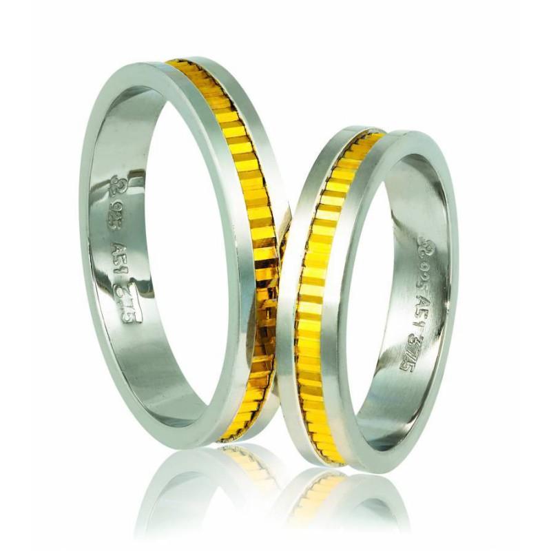 Χρυσή Ασημένια  βέρα  Silver-Gold A518P Ανδρική/Γυναικεία Βέρα για Γάμο και Αρραβώνα