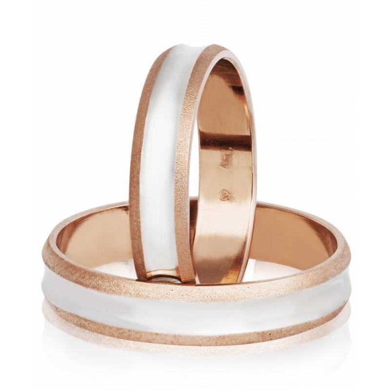 Ροζ Χρυσή Λευκόχρυση βέρα S65GD Ανδρική/Γυναικεία για Γάμο και Αρραβώνα 9 καρατίων.