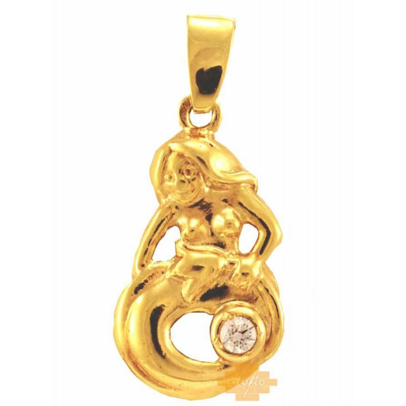Χρυσό ζώδιο ''παρθένος'' ανάγλυφο 14καρατίων ZFK99