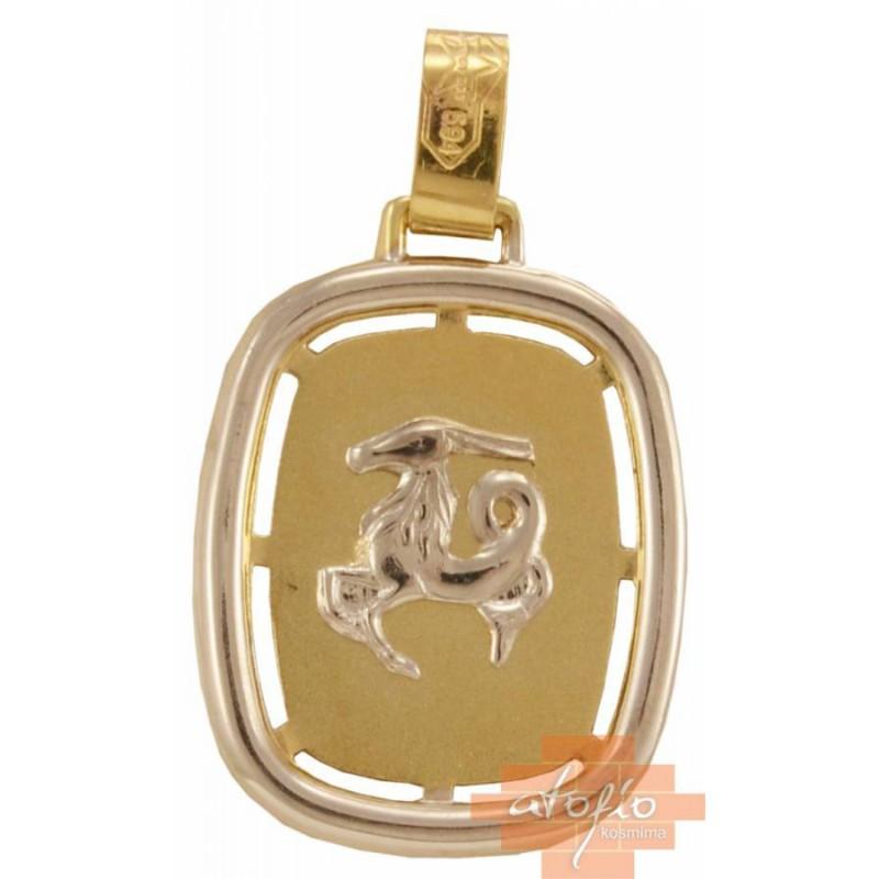 Χρυσό ζώδιο ''αιγόκερως'' διπλής όψεως 14καρατίων ZF138SOK6